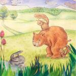 Un tritone, un orso e due scoiattoli del bosco