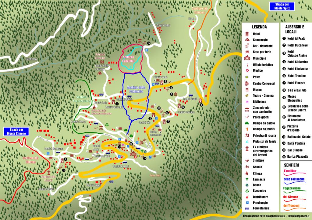 Mappa Tonezza - Contrade